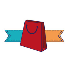 shopping bag with ribbon banners blue lines vector image