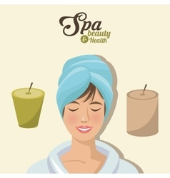 Spa beauty and health woman smile towel head with vector