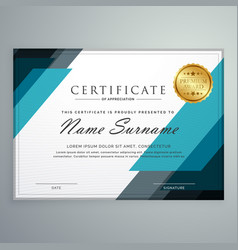 Stylish certificate appreciation award design vector