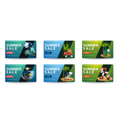Summer sale collection blue and green clickable vector