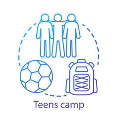 Teens camp concept icon summer youngster club vector