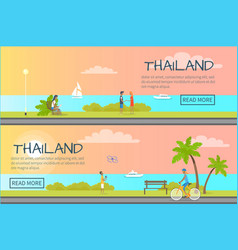 Thailand people relaxing colourful web banner vector