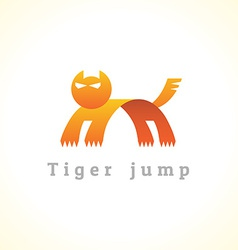 Tiger in a jump stylize logo vector