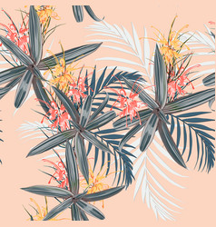 tropical leaves and paradise protea flowers vector image