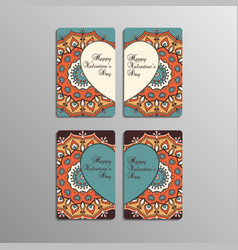 Valentines day cards with mandala vector
