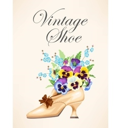 Vintage shoe with pansies vector