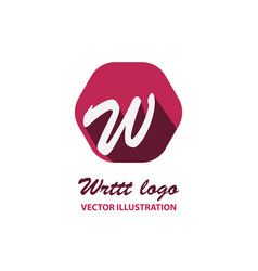 W letter color logo with dot and shadow vector