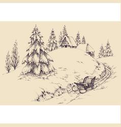 winter season in village landscape pine trees vector image