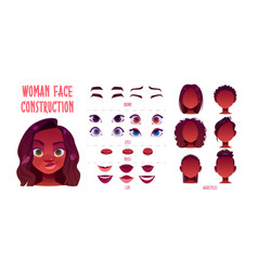 Woman face constructor african american avatar vector