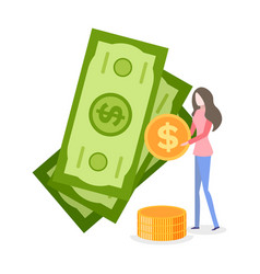 Woman holding coins standing banknote vector