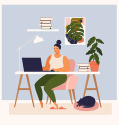 woman working at her desk at home she has a lot vector image