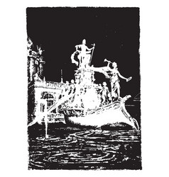 worlds fair statue vintage engraving vector image