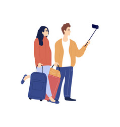 young caucasian and woman with luggage vector image