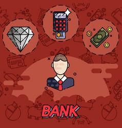 bank flat icons set vector image vector image