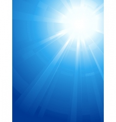 blue sky with glaring sun vector image