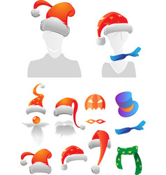 Christmas and Halloween decorations vector image