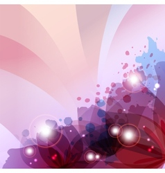 flower in colorful ink splattered pink background vector image vector image