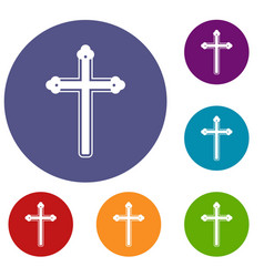 Holy cross icons set vector