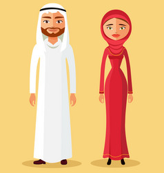muslim couple in flat cartoon style vector image vector image