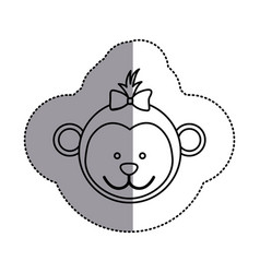 silhouette face bear bow head icon vector image vector image