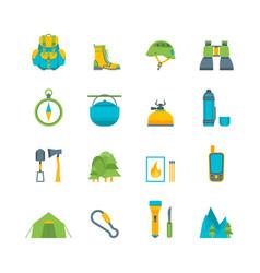 cartoon traveling camping and hiking set vector image