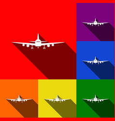 flying plane sign front view set of vector image vector image