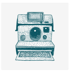 instant photo camera vintage engraved hand drawn vector image vector image