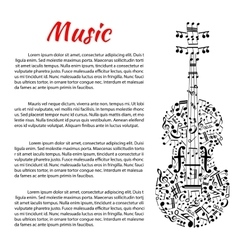 Musical poster with violin shape and notes vector