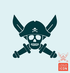 skull pirate icon isolated vector image