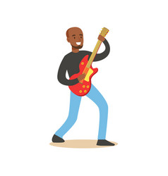 young black guitarist playing on electric guitar vector image