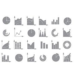 Charts gray icons set vector image