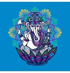 Ganesha with ornate mandala vector