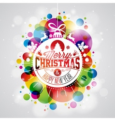 Merry Christmas Holiday with abstract glass ball vector image