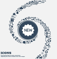New Icon in the center Around the many beautiful vector image