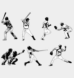 baseball players set - sketch vector image vector image