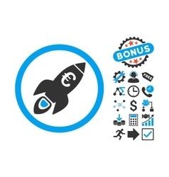 Euro Rocket Startup Flat Icon with Bonus vector image vector image
