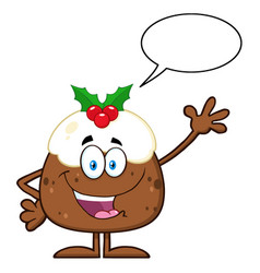 happy christmas pudding vector image vector image