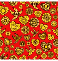 Hearts and Birds Seamless Pattern vector image vector image