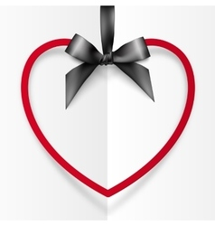 Red heart shape frame hanging on silky black vector image