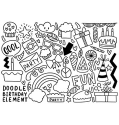 0105 hand drawn party doodle happy birthday vector