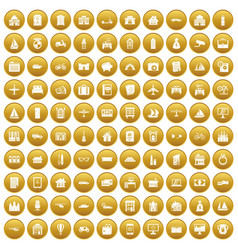 100 property icons set gold vector image