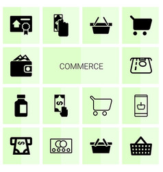 14 commerce icons vector image