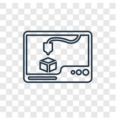 3d printer concept linear icon isolated on vector image