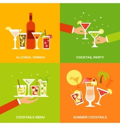 Alcohol Cocktails Icons Flat vector image