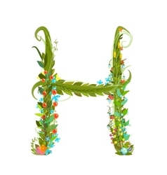Alphabet letter H elegant flower blooming vector