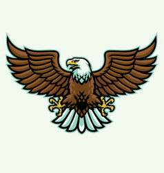 Angry eagle mascot spreading wings vector