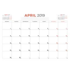 April 2019 calendar planner stationery design vector