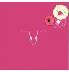 Art drawing uterus icon on pink background vector