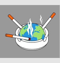 ashtray earth planet with cigarettes isolated vector image