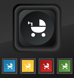 Baby Stroller icon symbol Set of five colorful vector